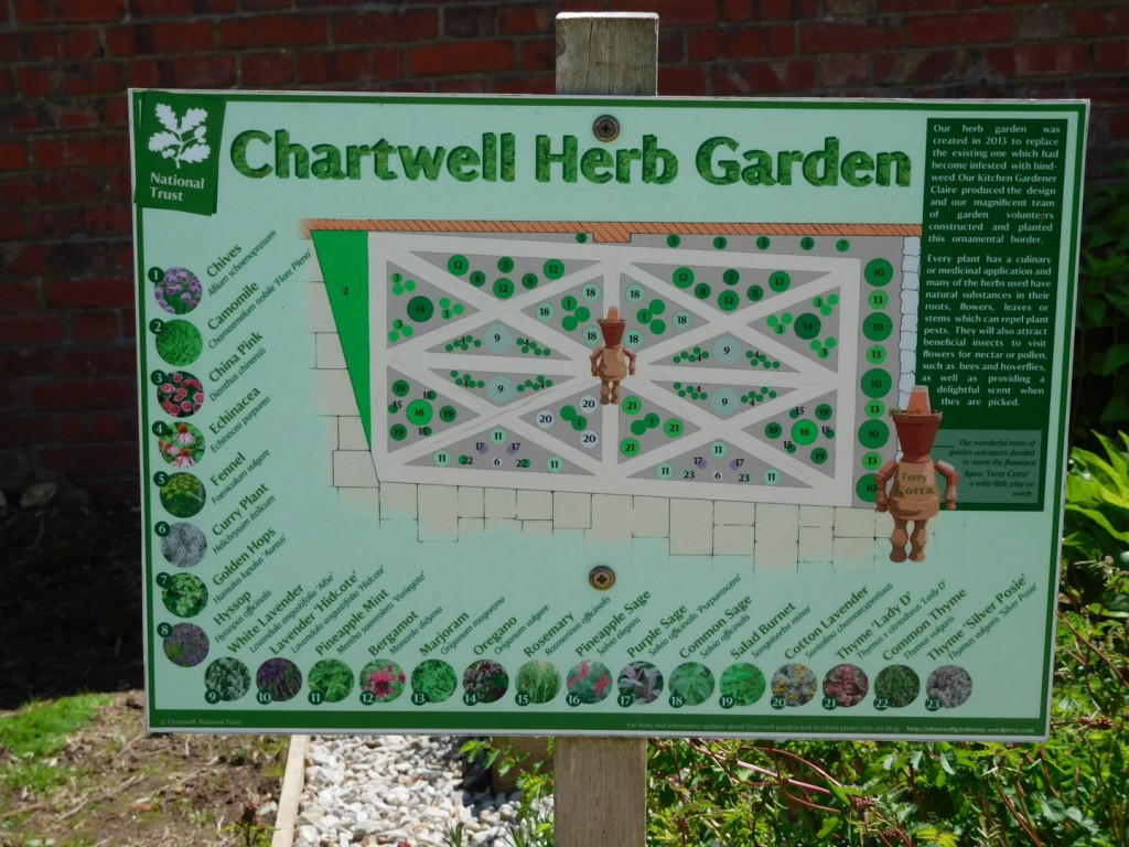 Plattegrond kruidentuin Chartwell house